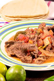 Prato mexicano da estaca com tortilhas e cal fotografia de stock