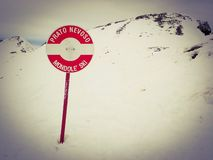 Prato Nevoso Mondole` Ski red piste marker sign, Province of Cuneo, Italy royalty free stock image