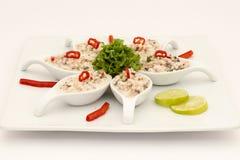 Prato peruano do marisco: Pichanga de Mariscos Estilo de Ceviche com creme branco Foto de Stock Royalty Free