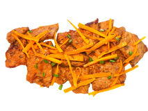 Prato picante coreano da carne de porco no fundo branco Imagens de Stock Royalty Free
