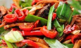 Prato picante de Sichuan dos tiros da carne, da pimenta, do cebola e os de bambu fotografia de stock royalty free