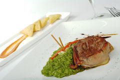 Prato principal: Carne com arroz do espinafre Fotografia de Stock Royalty Free