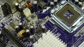 Prato principal do computador, giro do conjunto do circuito eletrônico filme