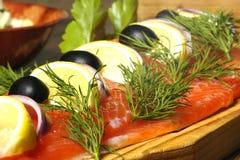 Prato Salmon com batatas fervidas Fotografia de Stock Royalty Free