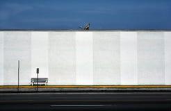 Prato satélite e banco de encontro à parede branca textured fotos de stock royalty free