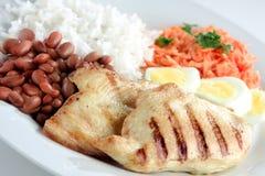 Prato típico de Brasil, de arroz e de feijões Fotografia de Stock