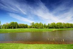 Prato verde e fiume calmo Fotografie Stock