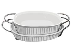 Pratos brancos do cozimento com punhos Imagens de Stock