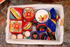 Pratos coloridos do trinket, Silves, Portugal Fotografia de Stock Royalty Free