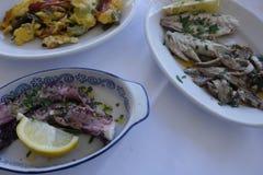 Pratos com alimento de mar Imagem de Stock Royalty Free