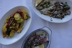 Pratos com alimento de mar Imagens de Stock Royalty Free