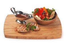 Pratos da carne do assado fotografia de stock