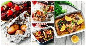 Pratos da carne para o piquenique da mola imagem de stock royalty free