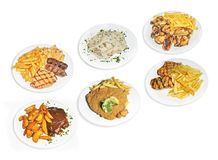 Pratos da comida rápida Fotos de Stock Royalty Free