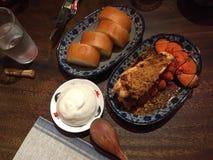 Pratos da lagosta e do Bao no restaurante da Sra. Pound foto de stock royalty free