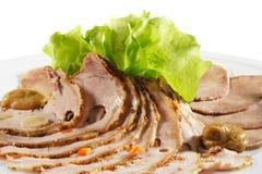 Pratos das carnes frias - carne e carne de porco fotografia de stock