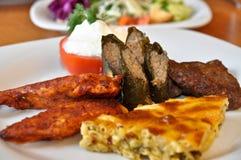 Pratos de Kofte, de borek, de dolma e de galinha em um prato branco imagem de stock