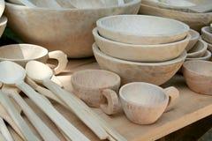 Pratos de madeira Imagens de Stock
