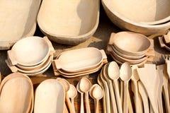 Pratos de madeira Fotografia de Stock