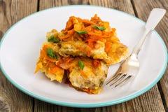 Pratos de peixes gregos e receita Imagens de Stock
