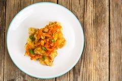 Pratos de peixes gregos e receita Imagem de Stock