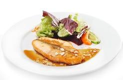 Pratos de peixes quentes - bife Salmon Foto de Stock