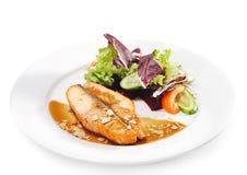 Pratos de peixes quentes - bife Salmon Imagens de Stock Royalty Free