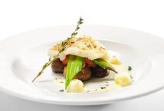 Pratos de peixes quentes - faixa do alabote negro Fotografia de Stock