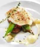 Pratos de peixes quentes - faixa do alabote negro Imagens de Stock Royalty Free