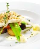 Pratos de peixes quentes - faixa do alabote negro Imagens de Stock