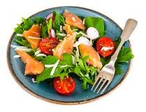 Pratos de peixes Salada com salmões Imagem de Stock Royalty Free