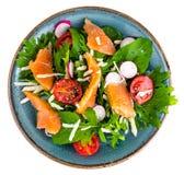 Pratos de peixes Salada com salmões Fotos de Stock Royalty Free