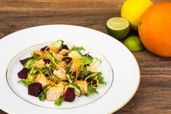 Pratos de peixes, salada com salmões e beterrabas Fotografia de Stock