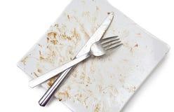 Pratos desagradáveis sujos Imagem de Stock Royalty Free