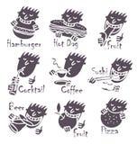 Pratos diferentes comer principal Imagem de Stock