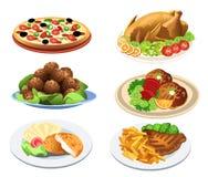 Pratos do alimento ilustração do vetor