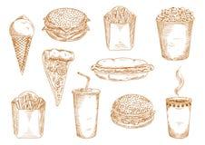Pratos do fast food com bebidas e esboço das sobremesas ilustração stock