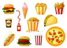 Pratos do fast food com grupo do ícone da bebida e da sobremesa ilustração do vetor