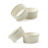 Pratos do ramekin do souffle da porcelana isolados Foto de Stock