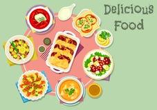 Pratos dos peixes e do vegetal para o ícone do almoço Foto de Stock Royalty Free