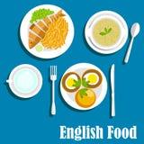 Pratos ingleses nacionais tradicionais da culinária Imagens de Stock Royalty Free