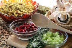 Pratos laterais da ação de graças do vegetariano ou do vegetariano fotos de stock