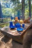 Pratos para acampar na tabela foto de stock royalty free