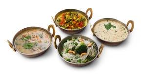 Pratos picantes quentes da culinária indiana do vegetariano e do vegetariano Imagem de Stock Royalty Free