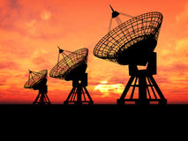 Pratos satélites Imagens de Stock