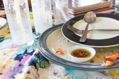 Pratos sujos e vazios do café da manhã Fotografia de Stock Royalty Free