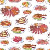Pratos tailandeses da culinária no fundo branco Imagens de Stock