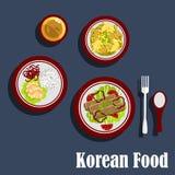 Pratos tradicionais da culinária coreana Foto de Stock