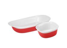 Pratos vermelhos isolados no branco fotos de stock royalty free