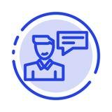 Pratstund meddelande som är popup, man, blå prickig linje linje symbol för konversation stock illustrationer